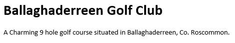 Ballaghaderreen Golf Club